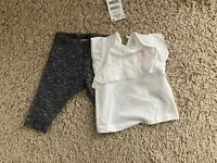 BNWT Next Baby Girls White/Blue 2 Piece Legging Outfit Size up to 1 month