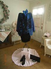 NWOT Koos Of Course! 100% Silk Plus Size 1X TwoSet Color Royal Blue Multi