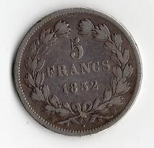 MONNAIE / ECU DE 5 FRANCS LOUIS PHILIPPE 1832 W @ LILLE @ SILVER COINS @ TOP !!