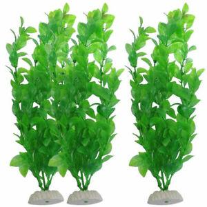 "10.6"" Height Green Plastic Artificial Water Plants Fish For Aquarium Tank N C6I0"