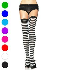 Opaque Stripe Thigh High Stockings - Leg Avenue 6005