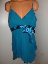 Fashion Bug NWT L large teal blue-green plunge asymmetrical hem shirt