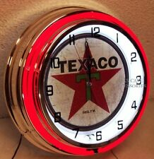 "18"" TEXACO Gasoline Motor Oil Gas Station Double Neon Clock 1936 Distressed Sign"