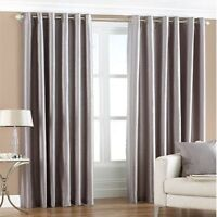 Silver Luxury Faux Silk Eyelet Fully Lined Pair Of Curtains With Tie Backs