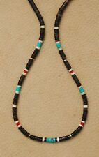 TURQUOISE GOLD NECKLACE 4mm. GEMSTONE HEISHI CORAL RED GOLD FINDINGS BEADS