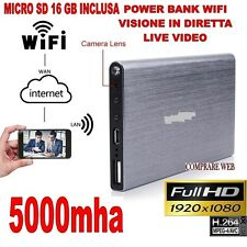 POWER BANK WIFI 3G + MICRO SD 16 GB MICROSPIA TELECAMERA NASCOSTA 1920x1080P HD