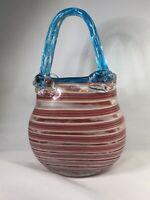 Vtg Murano Style Art Blown Glass Handbag Purse Red White and  Blue Striped