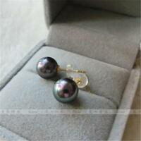 Hot 4.5-5mm AAA+ natural Tahitian black green round pearl earring 14K solid gold
