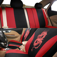 Front Rear Full Set 3D Dragon Embossed Pattern Seat Protector Covers Fit For Car