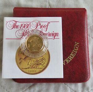 1980 QEII GOLD PROOF HALF SOVEREIGN - boxed/coa
