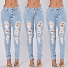 Women Skinny Ripped Pants High Waist Stretch Jeans Slim Pencil Denim Trousers