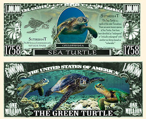 TORTUE MARINE - BILLET MILLION DOLLAR US! Série Animal de Mer Verte Chelonioidea