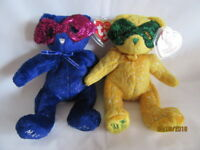 TY BEANIE BABY MARDI GRAS AND MASQUE 2005 BEARS - MINT - RETIRED