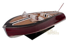 "Saetta Classic Wooden Model Boat 34"" ready for display NEW"