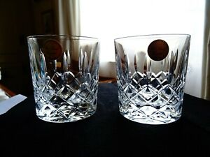 Set of 2 lead crystal cut whisky glasses approx 300 ml