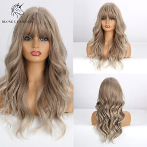Light Blonde Hair Wigs with Bangs for Women Long Wavy Wig Heat Resistant Fiber
