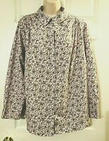 Women's Blouse Roaman's Plus 1X Floral Long Sleeve Button Down Shirt