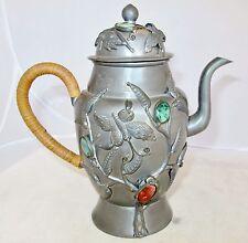 "8.2"" Antique Chinese Pewter & Teapot with Green Jadeite Jade & Orange Carnelian"