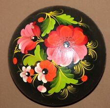 VINTAGE HAND PAINTED FLORAL LACQUER WOOD ROUND BOX