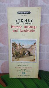 Vintage Robinson's Road Map No121 Sydney Historic Buildings & Landmarks 1962 VGC