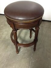 "Frontgate Chapman Backless Swivel counter BAR Stool 30"" Seat Ht Mahogany Leather"