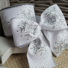Wired White Hessian With Silver Glitter Snowflakes Christmas Ribbon. Xmas Tree