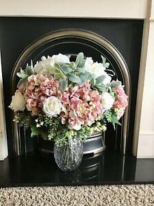 EXTRA LARGE ARTIFICIAL FLOWERS ARRANGEMENT ROSE HYDRANGEA GLASS URN CENTREPEICE