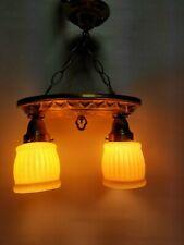 Stunning Art Deco Vintage Ceiling Lamp Fixture Glass Chandelier 2 Light 1940'