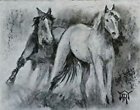 YARY DLUHOS ORIGINAL ART OIL PAINTING Horses Equine Mare Stallion Equestrian