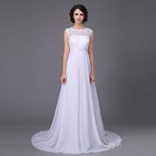 Vestido de Novia Sueño Estilo Campana Blanco Marfil 34-54 Chifón Encaje Perlas