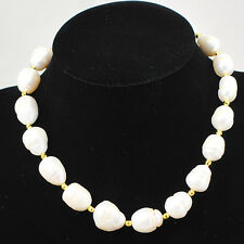"""Ny6Design White Freshwater Nuggets Necklace w/Gold tone Lobster Claw Clasp 18.5"""""""