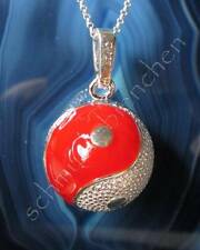 Pendant Sound Sphere Yin Yang Symbol Sound Ball Red Silver
