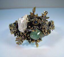 Coral Reef Bracelet EMERALD PEARL OPAL TOPAZ Rhodium/14k 2-tone GOLD/925 SILVER
