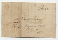 1830s Elyria Ohio boxed straightline stampless free rate [5251.155]