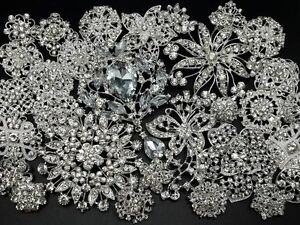 Lot 30pc Mixed Sliver Rhinestone Crystal Brooches Pin DIY Wedding Bridal Bouquet