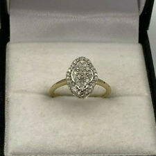 9ct Gold Hallmarked 35pt Diamond Cluster Ring.  Goldmine Jewellers.