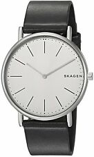 Skagen Original SKW6419 Men's Signatur Slim White Dial/Black Leather Watch 40mm