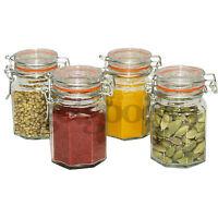 Set Of 4 New Glass Metal Clip Top Airtight  Vintage Spice Herb Storage Sweet Jar