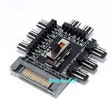 15Pin SATA to 8-Way Fan 3Pin Socket Adapter Converter 7V 12V Switch Hub Splitter