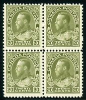 CANADA SCOTT#119 20c ADMIRAL BLOCK  MINT TOP 2 LH & BTM 2NH  SCOTT VALUE $770.00