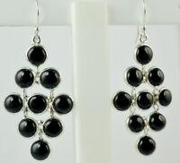 Black Onyx 925 Sterling Silver Handmade Dangle Drop Earrings (US-BON-020)
