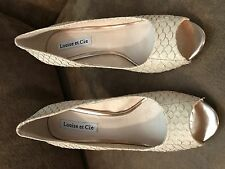 Louise Et Cie Scorpio Leather Cream Gold Open Toe Pump Heels Snake 7.5 Medium