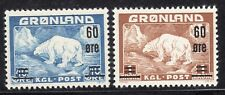 Greenland Stamps #39-40 — Polar Bear Surcharge — 1956 — Mint
