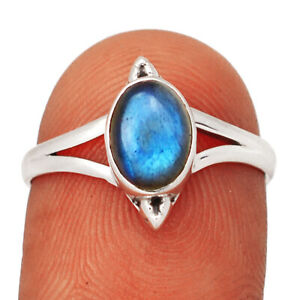 Labradorite - Madagascar 925 Sterling Silver Ring Jewelry s.7 BR8104