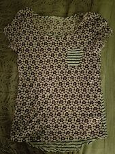 Ladiea WHITE STUFF pink floral and navy striped cotton top size 8