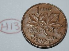 Canada 1956 1 Cent Copper One Canadian Penny Coin Lot #H13