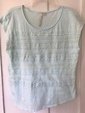 LC Lauren Conrad Cap Sleeved Top, Shirt, Lace & Ruffle Trim, Green, Size Large