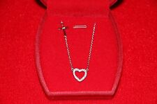 """925 Italy Sterling Silver SideWay Cross Pendant with Heart 16""""-18""""Necklace"""