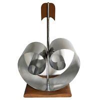 """Art Deco Magazine Rack Chrome Coil Spring Wood Chase Revere 17.5"""" Vtg"""