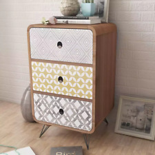 Side Cabinet With 3 Drawers Brown Bedside Table Drawer Bedroom Stand